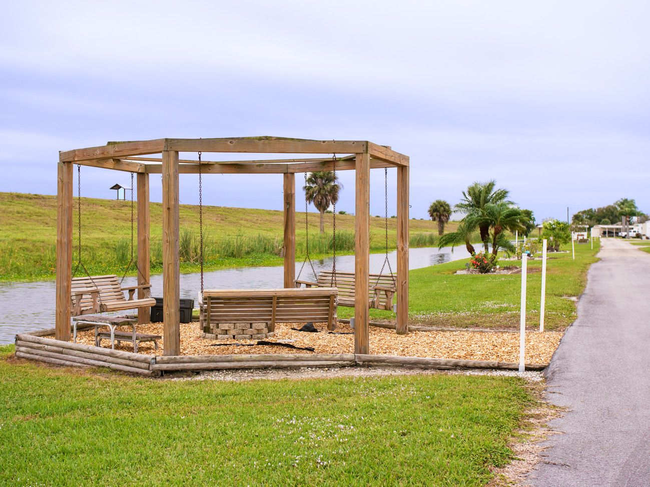 Comfortable swings to share with friends in our Okeechobee, FL RV Park
