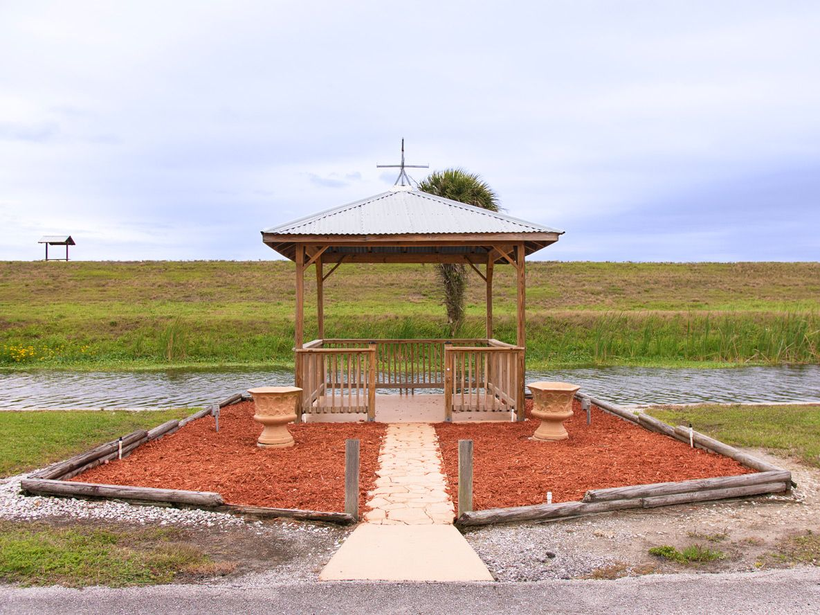 Our pagoda overlooking the canal in our Okeechobee, FL RV Park